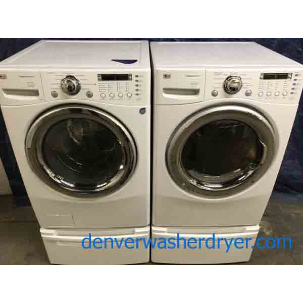 Front-Load LG Laundry Set On Pedestals, Electric, Steam/Sanitary Cycles, 1-Year Warranty!