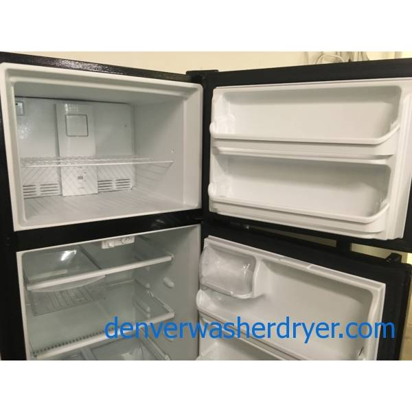 Lightly Used Frigidaire Refrigerator, Top-Mount, Textured Black, 20.4 Cu.Ft. Capacity, 30″ Wide, Glass Shelves, Quality Refurbished, 1-Year Warranty!