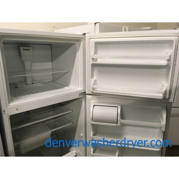 Two White Top-Mount Refrigerators, 18.0 Cu.Ft. Roper AND 16.0  Cu.Ft. GE, 1-Year Warranty!