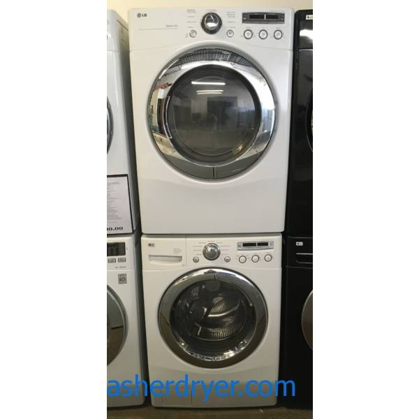 LG Front-Load Set, White, HE, 220V, Sanitary and Stain Cycles, Customizable Programs, Energy-Star Rated, Sensor Dry, Quality Refurbished, 1-Year Warranty!