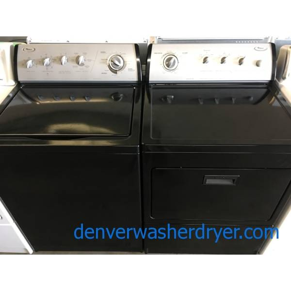 Rare Black Whirlpool Direct-Drive Washer Dryer Set, Electric, Quality Refurbished, 1-Year Warranty