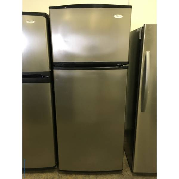Lovely Whirlpool Stainless Refrigerator, Top-Mount, 18.0 Cu.Ft. Capacity, Clear Humidity Control Crispers, Quality Refurbished, 1-Year Warranty!