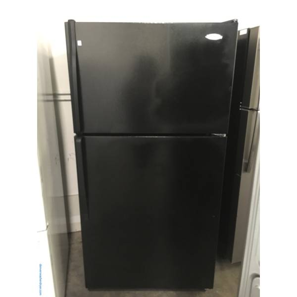 Whirlpool Black Refrigerator, Top-Mount, 33″ Wide, Clear Humidity Control Crispers, 21.0 Cu.Ft. Capacity, Quality Refurbished, 1-Year Warranty!