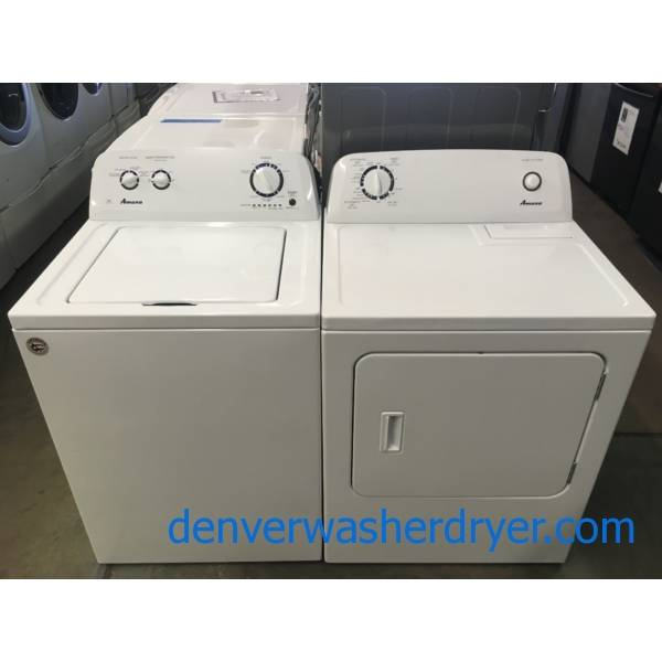 Amana Top-Load Washer and Dryer Set, HE, Agitator, Bleach Dispenser, Auto-Load Sensing, Quality Refurbished, 1-Year Warranty!