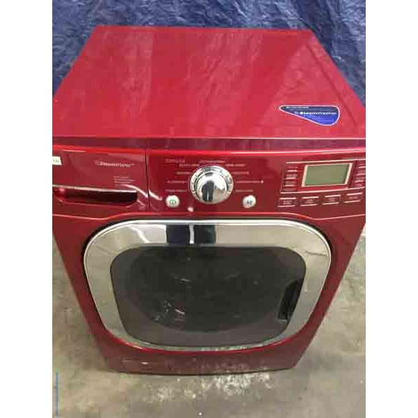 LG 27″ Front-Loading, Steam Washer, Colored in Cherry Red, 1-Year Warranty