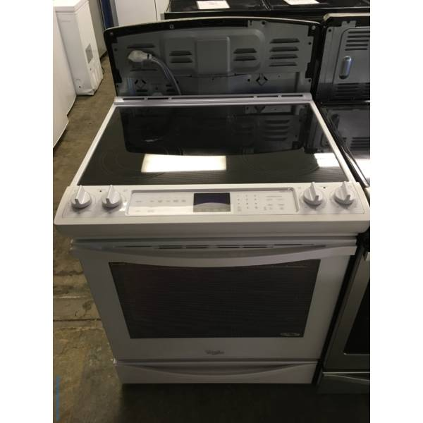 Slide-In Whirlpool Glass-Top Range, White, 5-Burner, AquaLift Self-Cleaning, Quality Refurbished, 1-Year Warranty!