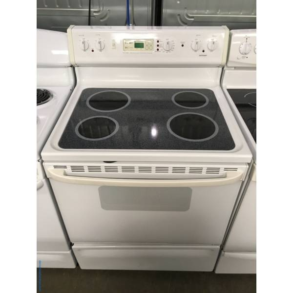 Hotpoint Range, Electric, Glass-Top, White, Quality Refurbished, 1-Year Warranty!