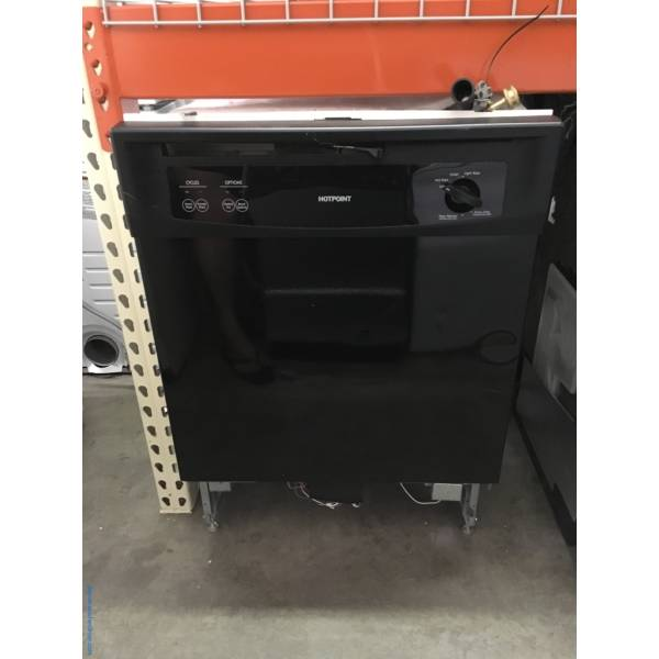 Hotpoint Black Dishwasher, Plastic Tub, Plate Warmer, 2 Racks, Quality Refurbished, 1-Year Warranty1