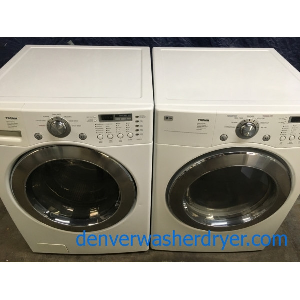 LG Tromm Front-Load Washer & Gas Dryer Set, (Stackable), 1-Year Warranty