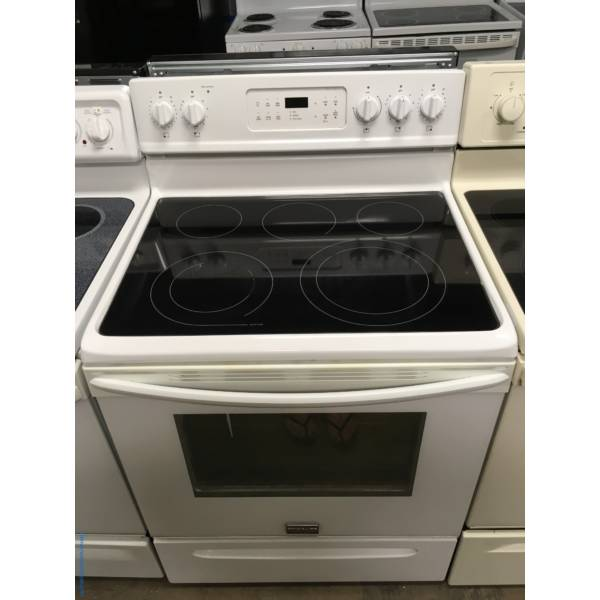 Frigidaire White Range, Glass-Top, Self-Cleaning, 5 Burners, Warm Zone, Storage Drawer, Quality Refurbished, 1-Year Warranty!