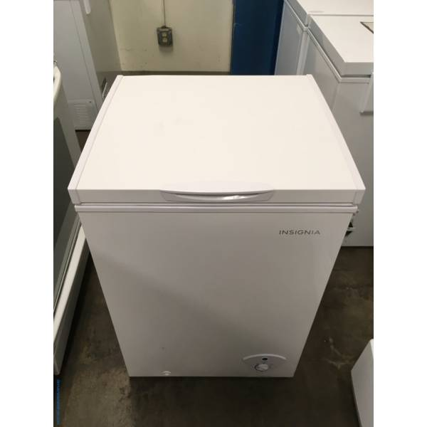 NEW! Insignia White Chest Freezer, Defrost Drain, 3.5 Cu.Ft. Capacity, Power Light, 1-Year Warranty!, Kenmore White Glass Top Range, Quality Refurbished, 1 Year Warranty