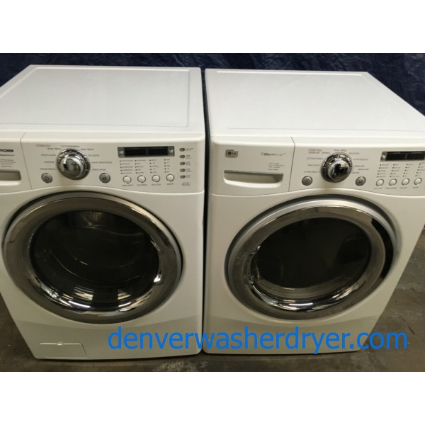 LG 27″ Front-Load Direct-Drive Washer w/Steam, and Gas w/Steam Dryer Set, 1-Year Warranty