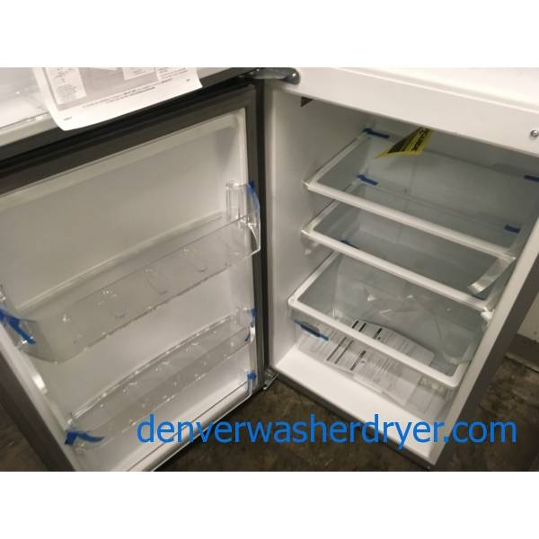 NEW! Scratch/Dent Whirlpool Stainless Top-Mount Refrigerator, 10.7 Cu.Ft. Capacity, Humidity Control Crisper, 25″ Wide, 1-Year Warranty!