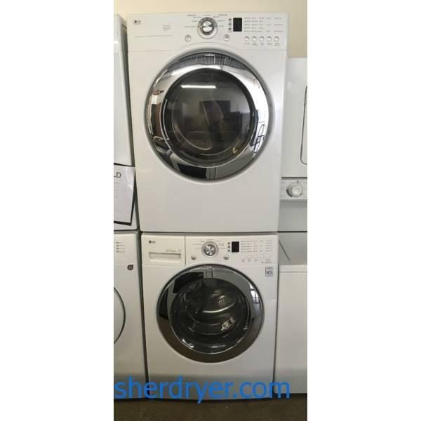 Magnificent LG Electric Washer and Dryer, Front-Load, White Stackable, Sanitary Cycle, Water Plus Option, Quality Refurbished, 1 Year-Warranty