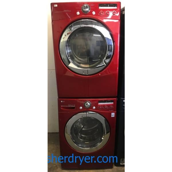 LG Wild Cherry Red Front-Load Set, HE, Auto-Load Sensing, 220V, Sanitary and Baby Wear Cycles, Customizable Program, Stainless Drum, Quality Refurbished, 1-Year Warranty!