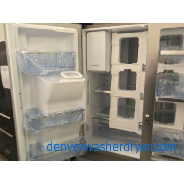NEW! Scratch/Dent Stainless Samsung French-Door Refrigerator, Counter-Depth, Food Showcase, Stainless, FlexDoor, 1-Year Warranty!