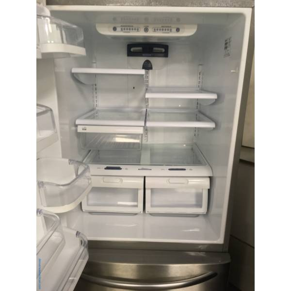 Lightly Used Kenmore ELITE Stainless Bottom-Mount Refrigerator, Humidity Control Crispers, 5 Glass Shelves And LG Gas Stainless Steel Double Oven Range, Quality Refurbished, 1-Year Warranty!