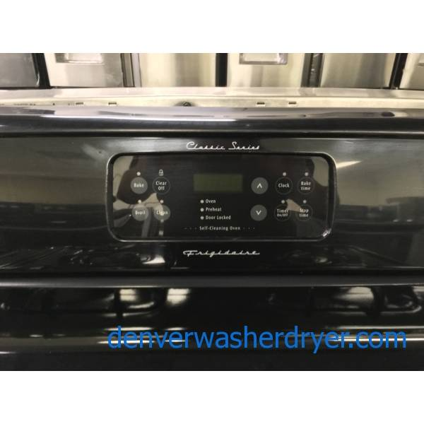 Black Frigidaire Classic Series GAS Range, Self-Cleaning, 4 Burners, Quality Refurbished, 1-Year Warranty!