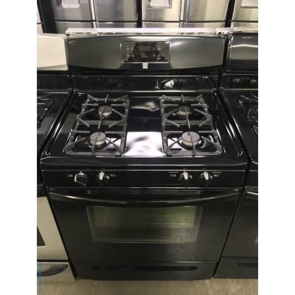 Free-Standing Kenmore Black GAS Range, 4 Burners, Self Cleaning, Quality Refurbished, 1-Year Warranty!