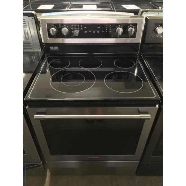 Lightly Used Maytag Stainless Electric Range, 5 Burners, AquaLift Self Cleaning, Convection Oven, Quality Refurbished, 1-Year Warranty!