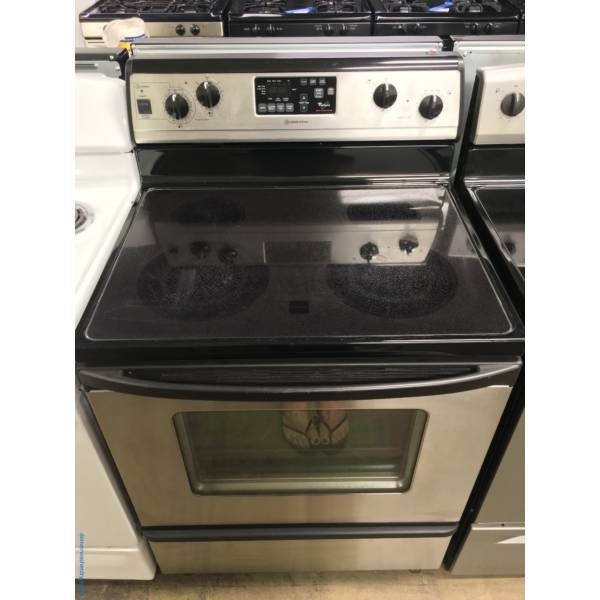 Whirlpool Smudge-Proof Electric Range, Glass-Top, 4 Burners, Auto-Clean, Quality Refurbished, 1-Year Warranty!