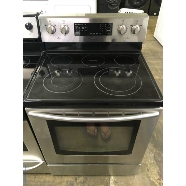 Stainless Samsung Electric Range, 5 Burners, Self/Steam Cleaning, Warming Center, Quality Refurbished, 1-Year Warranty!