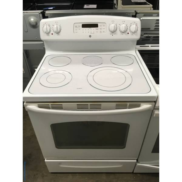 Electric GE White Range, Glass-Top, Self-Cleaning, 5 Burners, Proof Feature, Quality Refurbished, 1-Year Warranty!
