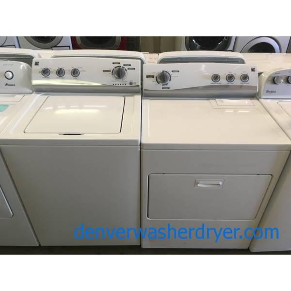 Heavy-Duty Kenmore Washer and Dryer Set, Frigidare White Glass Top Stove, 1-Year Warranty!