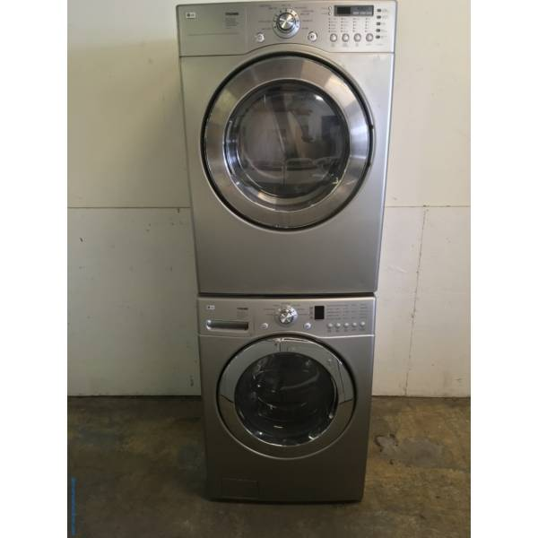 Grey LG Front Load Washer Dryer Set Quality Refurbished 1-Year Warranty