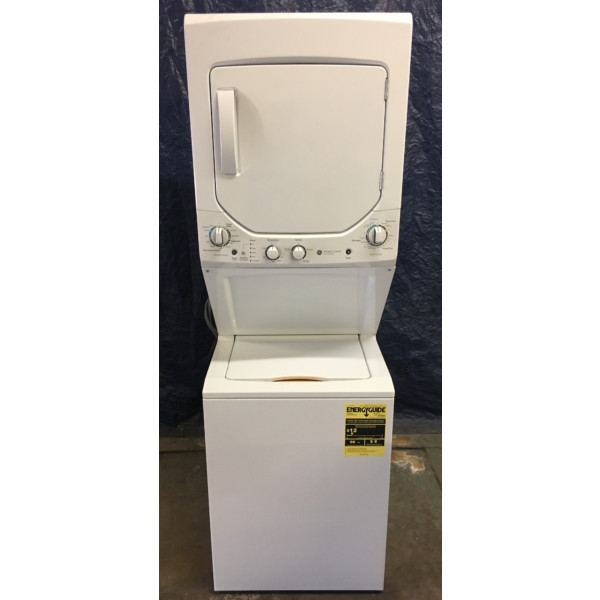 BRAND-NEW 24″ GE SpaceMaker (2.0 Cu. Ft.) Electric Stacked Laundry Unit 220v, 1-Year Warranty