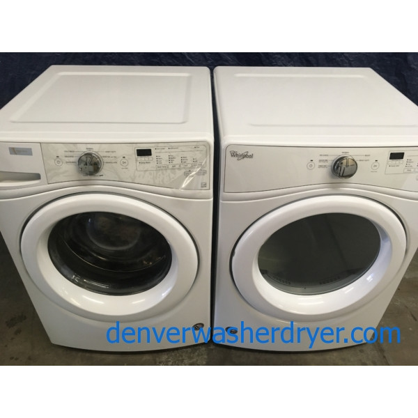 BRAND-NEW Whirlpool Stackable 27″ Front-Load HE Direct-Drive Washer & Electric Dryer 240v, 1-Year Warranty