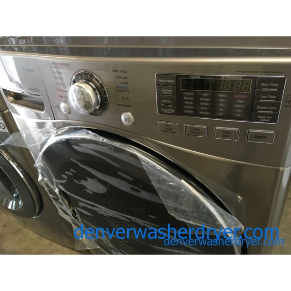 BRAND-NEW LG 27″ Stackable HE Front-Load Direct-Drive Steam Washer & *GAS* w/Steam Dryer, 1-Year Warranty