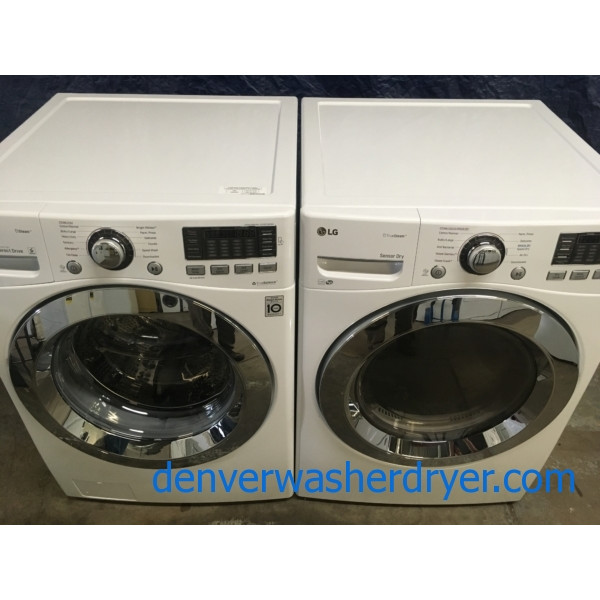 BRAND-NEW 27″ LG Stackable HE Front-Load Washer with Steam & *GAS* Dryer with Steam, 1-Year Warranty