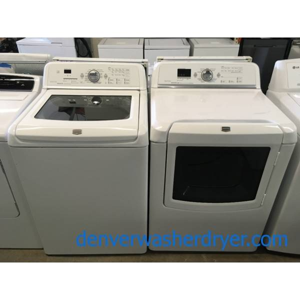 Great Maytag Bravos Washer and Dryer Set, Sanitary Cycle, Steam Feature, Wrinkle Prevent, HE, Wash-Plate Style, Quality Refurbished, 1-Year Warranty!