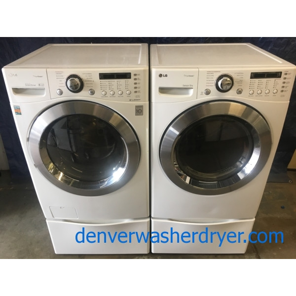 *Used* LG 27″ Stackable Front-Load HE Steam Washer & Electric Steam Dryer Set, 1-Year Warranty