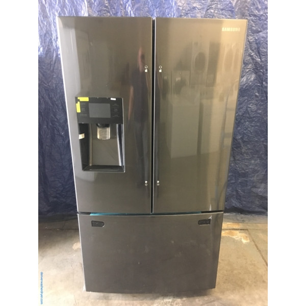 BRAND-NEW Samsung (24.6 Cu. Ft.) Black Stainless French Door Refrigerator, 1-Year Warranty