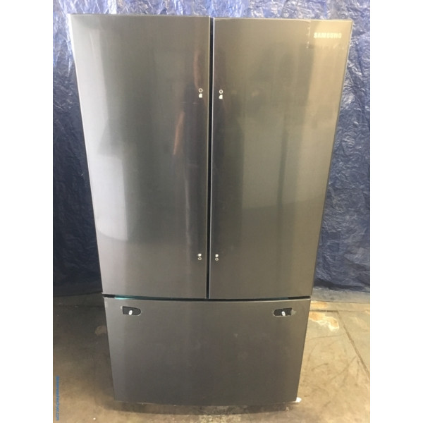 BRAND-NEW Samsung French Door (25.5 Cu. Ft.) Black Stainless Refrigerator, 1-Year Warranty