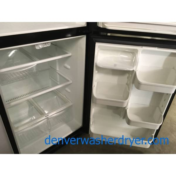 Nice Black Kenmore Top-Mount Refrigerator, 3 Glass Shelves, Clear Humidity Control Crispers, Quality Refurbished, 1-Year Warranty!