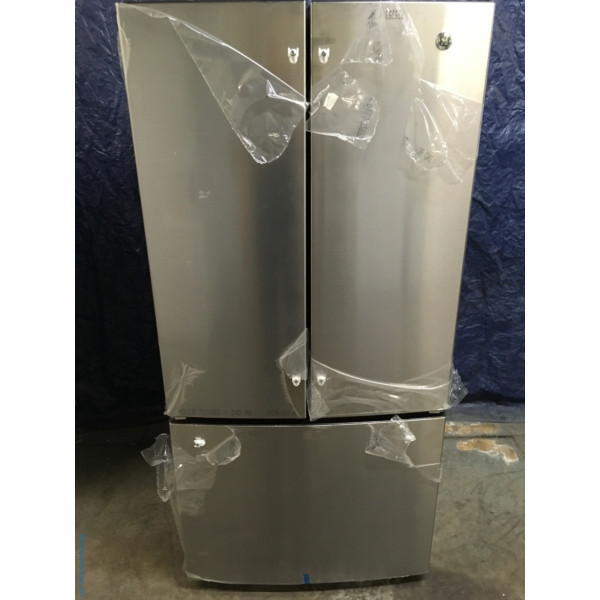 BRAND-NEW GE 33″ French Door Stainless Refrigerator with Ice Maker, 1-Year Warranty