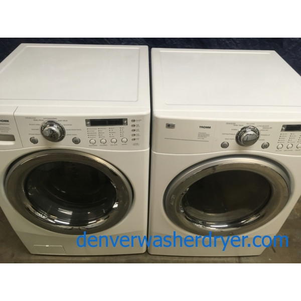 Quality Refurbished LG Tromm Front-Load Stackable HE Washer & Electric Dryer Set, 1-Year Warranty