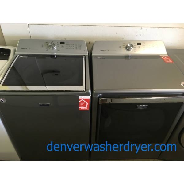 Brand $pankin New Dark Grey Maytag Bravos XL Top Load Washer and Dryer Still Under Factory Warranty!