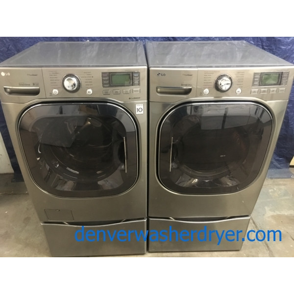 Quality Refurbished 27″ LG Front-Load Stackable HE Direct-Drive Steam Washer & Electric 220v Steam Dryer Set, 1-Year Warranty