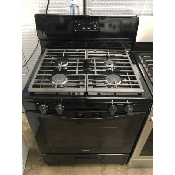 Lightly Used Whirlpool GAS Range, Black, 4 Burners, w/ Broiler Drawer, 5.1 Cu.Ft. Capacity, Quality Refurbished, 1-Year Warranty!