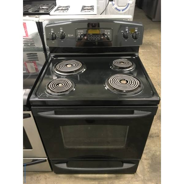 Nice GE Coil-Top Range in Black, Self Cleaning, Quality Refurbished 1-Year Warranty