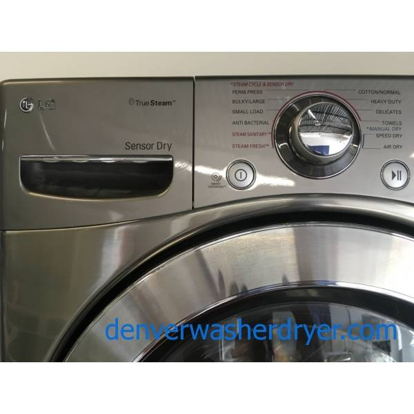 GRRREAT! Grey LG Front Load Set, Samsung French-Door Refrigerator, Bosch Dishwasher, Gas Range, Quality Refurbished 1-Year Warranty