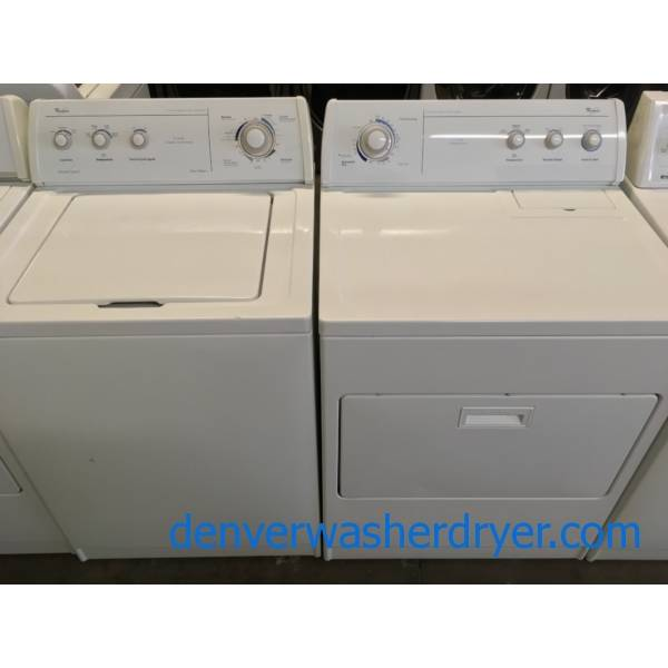 "Whirlpool Direct Drive ""Quiet Wash"" Washer and Dryer, Agitator, Wrinkle Shield Option, Quality Refurbished 1-Year Warranty"