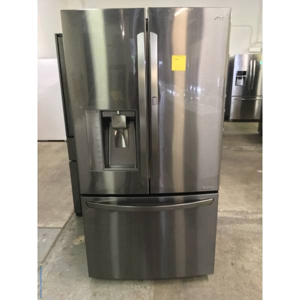 Life's Good LG French Door Black Stainless Fridge, LG Top Load Washer And Dryer Set with 1-Year Warranty