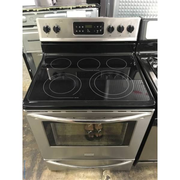 Beautiful Free-Standing Frigidaire Stainless Glass-Top Range, 5 Burners, Warm Zone, Self-Cleaning, Quality Refurbished, 1-Year Warranty!