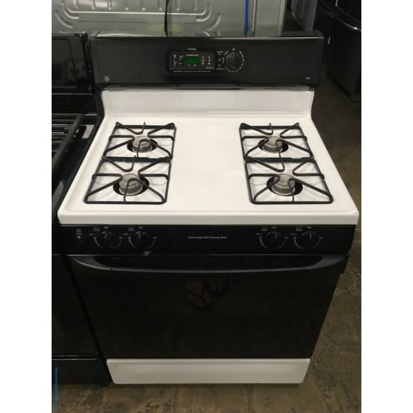 G.E Gas Range in Black and White, Quality Refurbished 1-Year Warranty