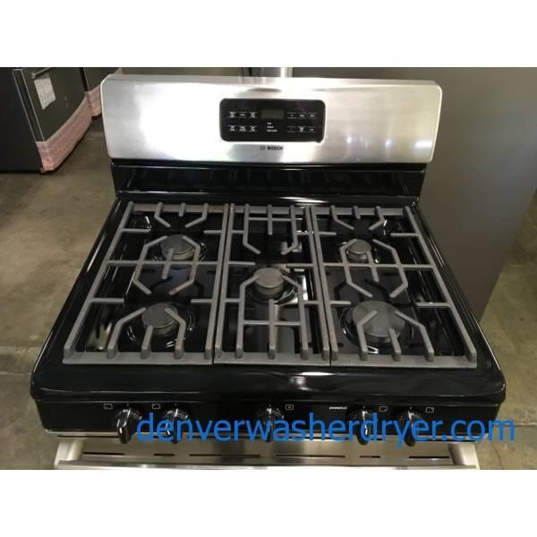 Bosch GAS Stainless Range, Free-Standing, 5 Burners, 5.0 Cu.Ft. Capacity, Self Cleaning, Quality Refurbished, 1-Year Warranty!